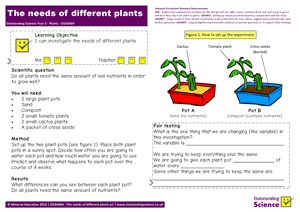 Outstanding Science Year 3 - Plants | The needs of different plants