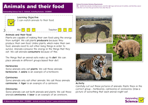 Outstanding Science Year 3 - Animals, including humans | Animals and their food