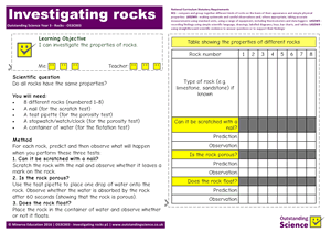 Outstanding Science Year 3 - Rocks | Investigating rocks