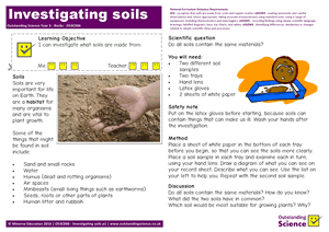 Outstanding Science Year 3 - Rocks | Investigating soils