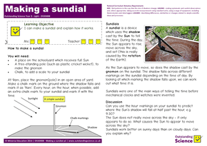 Outstanding Science Year 3 - Light | Making a sundial