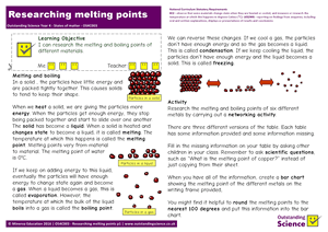 Outstanding Science Year 4 - States of matter | Researching melting points