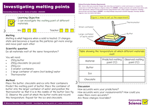 Outstanding Science Year 4 - States of matter | Investigating melting points