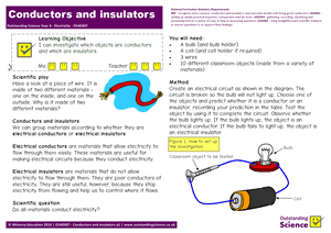 Outstanding Science Year 4 - Electricity | Conductors and insulators