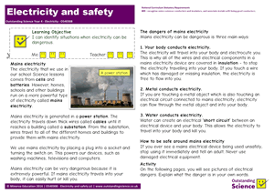 Outstanding Science Year 4 - Electricity | Electricity and safety