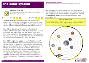 Outstanding Science Year 5 - Earth and space | The solar system