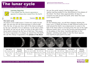 Outstanding Science Year 5 - Earth and space | The lunar cycle