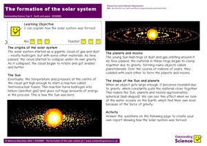 Outstanding Science Year 5 - Earth and space | The formation of the solar system
