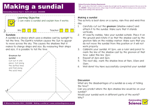Outstanding Science Year 5 - Earth and space | Making a sundial