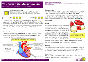 Outstanding Science Year 6 - Animals, including humans | The human circulatory system
