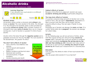 Outstanding Science Year 6 - Animals, including humans | Alcoholic drinks