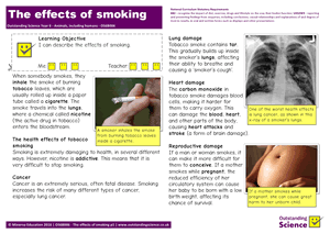 Outstanding Science Year 6 - Animals, including humans | The effects of smoking