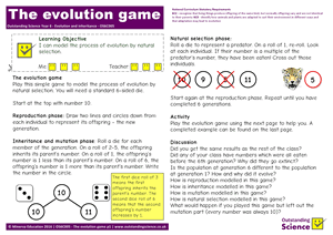 Outstanding Science Year 6 - Evolution and inheritance | The evolution game