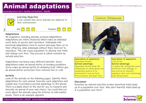 Outstanding Science Year 6 - Evolution and inheritance | Animal adaptations