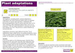 Outstanding Science Year 6 - Evolution and inheritance | Plant adaptations