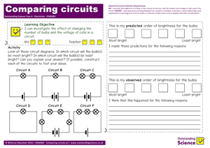 Outstanding Science Year 6 - Electricity | Comparing circuits