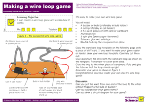Outstanding Science Year 6 - Electricity | Making a wire loop game