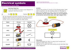 Outstanding Science Year 6 - Electricity | Electrical symbols